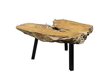Meubletmoi Table Basse Racine de Teck et Pieds métal Noir - Design Exotique Chic Bord de mer - Padang