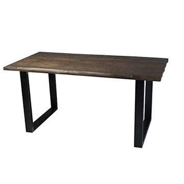 CosyWood Rough Edge Moderne Table de Salle à Manger, Fernanda (Brown)-Black (Mild Steel), 8 Seater W200xD90xH75cm