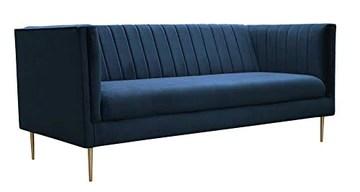 Fait à la main en Europe contemporain contemporain canapé 3 places en velours (bleu marine)