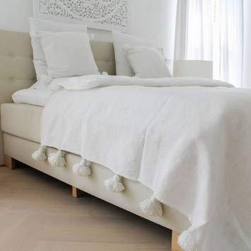 berbere Jetée de lit, de canapé Pur Coton épais, jetée avec Pompons