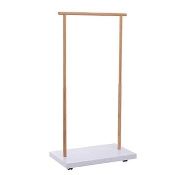 Homcom Portant vêtements sur roulettes Design Cosy Chic dim. 80L x 45l x 150H cm MDF Blanc Bambou
