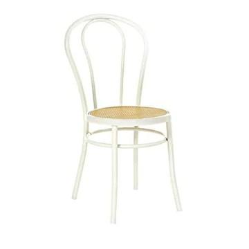 Thonet Chaise en bois incurvé avec assise en paille de Vienne vintage travaillé à la main, fabriquée en Italie, couleur blanche
