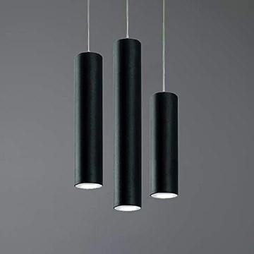 Lampe à suspension cylindrique GU10 de plafond H40 en métal laqué noir (noir, hauteur 40 cm)