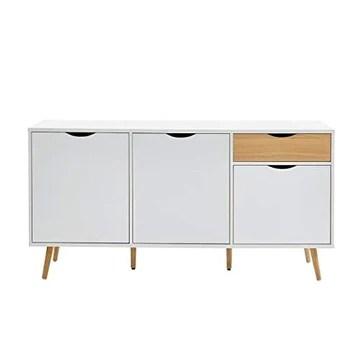 Buffet - BAHUT - Enfilade Bela Buffet avec 3 Portes et 1 tiroir - Blanc et Decor Bois - L 150 x P 39,5 x H 75 cm