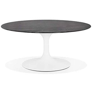 alterego table basse de salon ronde gost mini en verre noir effet marbre et pied central blanc