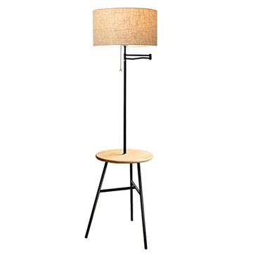 Lampadaire à Plateau en Fer, Lampe à Poser Moderne avec Table Basse en Bois, pour Chambre à Coucher LI Jing Shop (Couleur : Linen lampshade)
