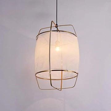 WnLit Lampe Suspension Japonais Lignes minimalistes Bambou éclairage LED Suspendus Tricot Main lumières Cuisine Salle à Manger Lampe Tissu Suspendu E27 Lustre Vie de la Lampe de Chambre,Blanc,L