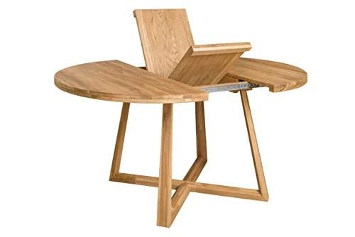 nordicstory table de salle a manger extensible ronde avec pieds croises moby bois massif chene style moderne nordique ou scandinave pour salon 4 8