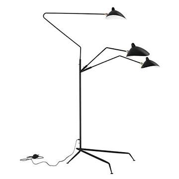 Nordic Araignée Serge Mouille Lampadaire Modeling Lampadaire Chambre Simple Industriel Salon LED Sol Luminaire (Body Color : Black, Lampshade Color : 3 Heads Floor Black)