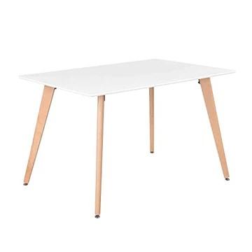 Meubles Cosy Table à Manger de Cuisine Table Basse de Détente Blanche et Rectangulaire en Bois Guéridon de Salle de Conférence 110*70*74 cm