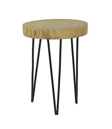 Pomax Table Basse Ronde en Bois et Métal - Hauteur 46cm x diamètre 35cm