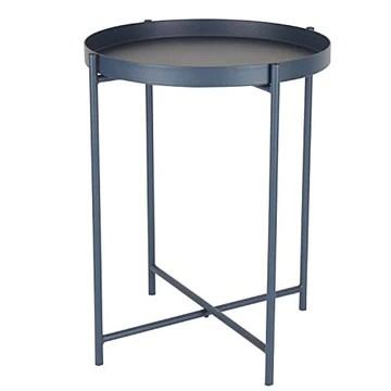 Day – USEFUL EVERYDAY Table d'appoint, table de salon, support pour fleurs, table en métal revêtu par pulvérisation, design scandinave, bleu nuit, Ø38 H50 cm, utilisation polyvalente
