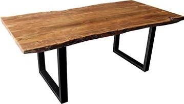 Main Möbel Nepali Table d'arbre en Acacia et Fer Noir 180 x 100 cm