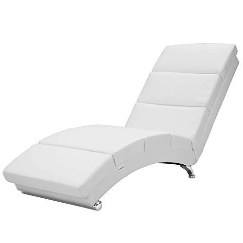 casaria meridienne london chaise de relaxation chaise longue d interieur ergonomique fauteuil rembourre pieds chromes blanc