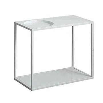 Jcnfa-Tables Table Basse d'appoint en métal Moderne, Table d'appoint canapé avec Rangement étagère, étagères en métal, for la Salle à Manger du Couloir du Salon, Blanc