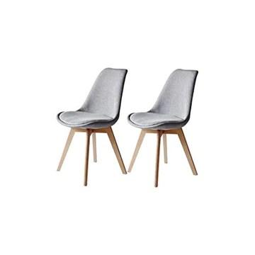 Générique Bjorn Lot de 2 chaises Pieds Bois Hetre - Tissu Gris - L 48,5 x P 56 x H 83 cm