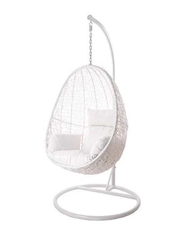 Kideo Swing Chair intérieur & extérieur, Chaise longue Polyrattan, Chaise suspendue, Chaise suspendue avec cadre et coussins (blanc)