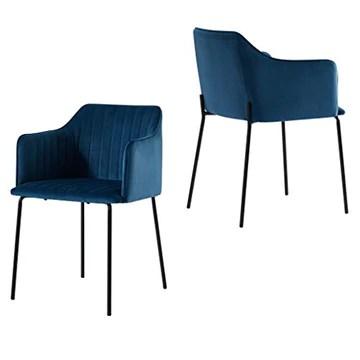 EMT CASA Lot de 2 Chaise scandinave, chaise de salle à manger en velours, pieds métalliques stables
