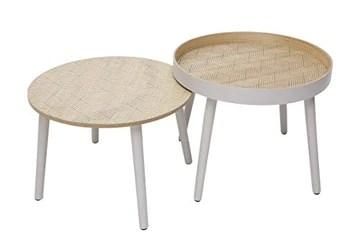 By Demeyere « Holly » Tables Basses gigognes en Bois à Motif (Beige)