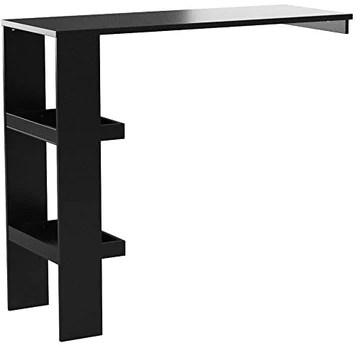SoBuy® FWT55-Sch Table de Bar Murale Table Haute de Bar Mange-Debout Cuisine avec 2 étagères de Rangement - Noir