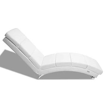 Casaria Méridienne « London » Chaise de Relaxation Chaise Longue d'intérieur Ergonomique Fauteuil rembourré Pieds chromés Blanc