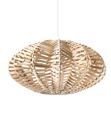 Luminaire Aina, suspension rotin, 60 W, naturel, ø 51 x H 29 cm
