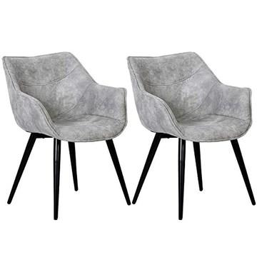 WOLTU 2 X Chaises de Salle à Manger chaises de Cuisine Chaises de Salon Assise en Tissu Structure en Acier,Gris Clair BH99hgr-2