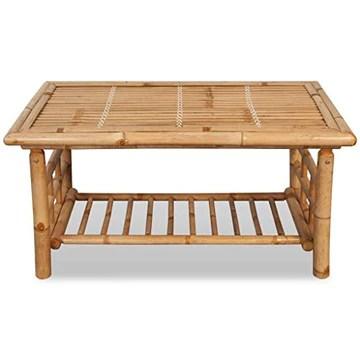 vidaXL Table Basse Table d'appoint Table de Salon Bambou 90 x 50 x 45 cm