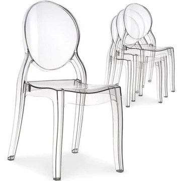 Menzzo Lot de 4 Chaises Salle Manger Plexi Transparent | Cuisine Salon ou Sejour | Diva |Design, Moderne et Confortable | Dimensions : L43 P52 x H89 cm