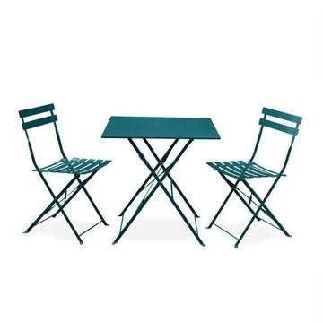 Salon de Jardin bistrot Pliable - Emilia carré Bleu Canard - Table carrée 70x70cm avec Deux chaises Pliantes, Acier thermolaqué