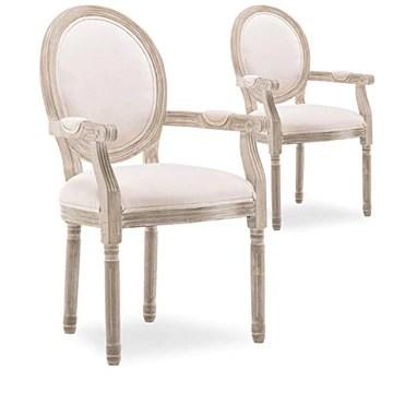 INTENSEDECO Lot de 2 fauteuils médaillon Louis XVI Tissu Beige