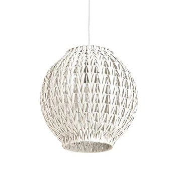 Luminaire Tahia, suspension rotin, blanc, 60 W, ø 31 x H 31 cm