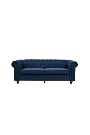 Edgar canapé Chesterfield Droit Fixe 3 Places - Tissu Lin Bleu Profond - l 202 x p 82 cm