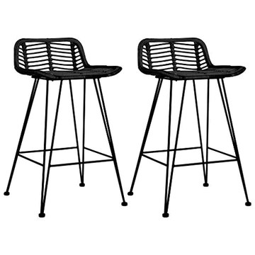 vidaXL 2X Chaises de Bar Tabourets de Bar Siège de Bistrot Chaise de Comptoir Tabouret de Bistrot Tabouret de Comptoir Fauteuil de Bar Noir Résine Tressée