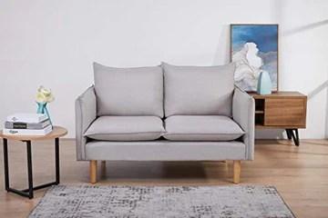 Marque Amazon - Movian Keitele- Canapé 2 places, 130 x 82 x 84 cm, Gris clair