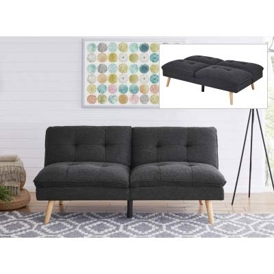 Mobilier Deco Canapé clic clac Design scandinave en Tissu Gris Anthracite KOZI