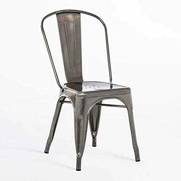SKLUM Chaise LIX Brossée Bar Cuisine Salle à Manger Design Industriel Finition brossée