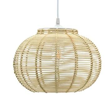 LUSSIOL Luminaire Korba, suspension rotin, 60 W, naturel, ø 30 x H 23 cm