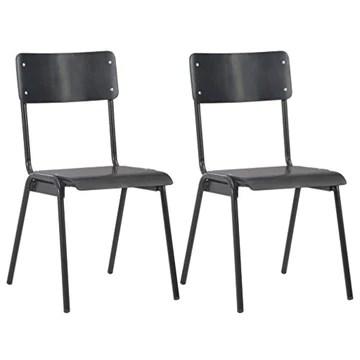 vidaXL 2X Chaises à Dîner Chaises de Salle à Manger Meuble de Cuisine Mobilier de Salon Intérieur Noir Contreplaqué Solide et Acier
