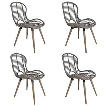 Tidyard 4 pcs Chaise de Jardin | Chaises de Salle à Manger | Chaises d'Extérieur en Rotin 48x64x85 cm Marron