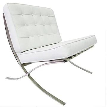 Chaise Barcelona - Cuir de qualité supérieure inspiré par Mies van de Rohe (Blanc)