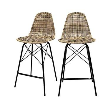 Rendez vous déco Chaise de Bar mi-Hauteur Tiptur en résine tressée Naturelle 63 cm (Lot de 2)