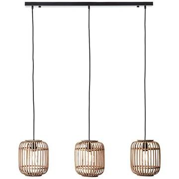 Suspension Lampe décorative Nature 3 x E27 max. 40 W en métal/rotin marron clair noir