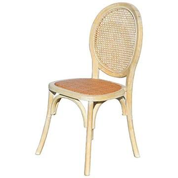 EME Chaise médaillon en Bois décapé d'orme avec Assise en rotin Naturel et Dossier en Grille. Contenu : 1 pièce. Chaise empilable avec Finition Rustique.