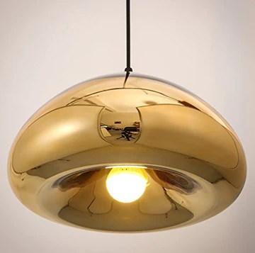 LED 3 W Lampe suspension Lampe suspension Suspension moderne minimaliste lustre pendentif éclairage blanc chaud Lampe de plafond salon salle à manger chambre à coucher (Ampoule incluse) doré