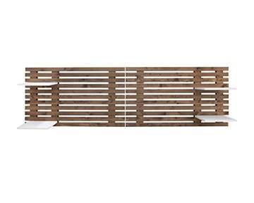 Decowood - Tête de Lit pour Chambre à Coucher, avec Baguettes et 4 Étagères, Bois de Sapin Vieilli - 244 x 60 cm