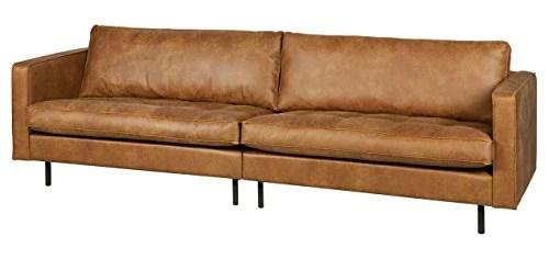 PEGANE Canapé 3 Places en Cuir et Polyester Coloris Cognac - Dim : H 83 x L 275 x P 88 cm