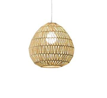 Lustre Rétro minimaliste lustre corde de chanvre tête simple rotin Salon Chambre Restaurant Restaurant E27 (taille: 33 * 33cm) Lumière pendante