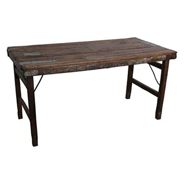 MATHI DESIGN Table Marron Vintage Pliante