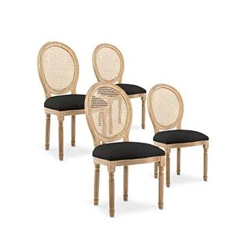 INTENSEDECO Lot de 4 chaises médaillon Louis XVI Cannage Rotin Tissu Noir